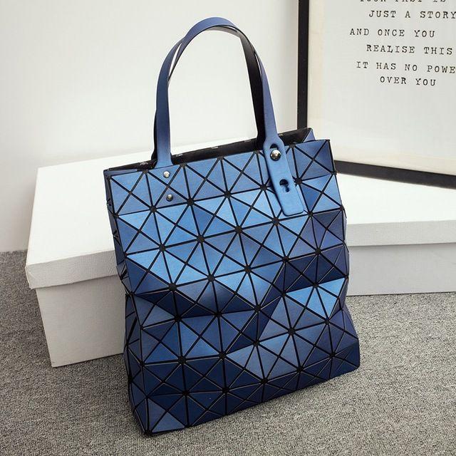 0199ea8ee856 Geometric Bag 2017 Spring Dumb Light Wiredrawing Diamond Lattice Folded  Handbag Geometric Plaid Bag Casual Totes Top-handle Bag