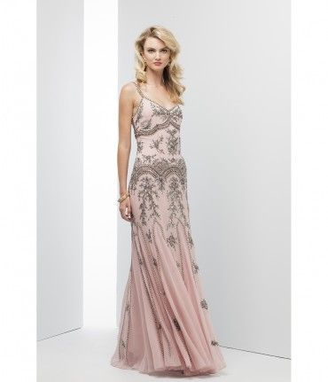 Mignon Powder Pink Chiffon Embellished Long Dress For Homecoming 2016