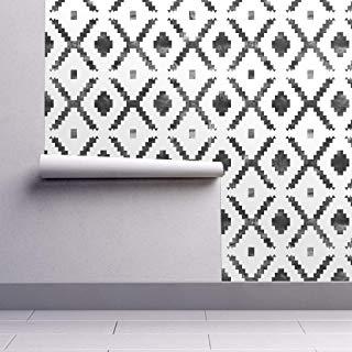 Amazon Com Peel And Stick Wallpaper Black And White Geometric Peel And Stick Wallpaper Spoonflower Wallpaper Wallpaper