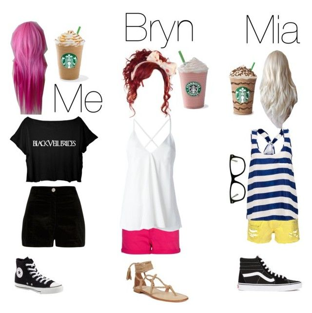 """Me and my two besties."" by shaya-bvb-4-life ❤ liked on Polyvore featuring River Island, MANGO, Dondup, Muse, Converse and Vans"