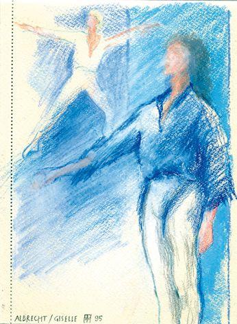 Ballettprobe Giselle/Aquarell/Farbstift ©Tobias Windlinger