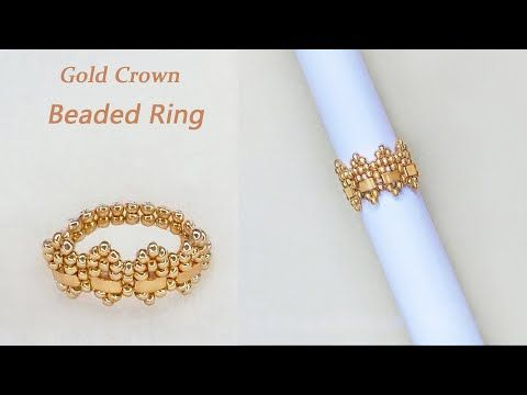 Photo of DIY Beaded Ring with Gold Seed beads and Half Tila Beads, Crown Shape Beaded Ring