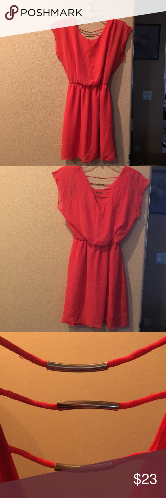 e98e0a925ad9 Sweet Storm Coral Dress Size is small. Made in Indonesia. Shell and lining  is