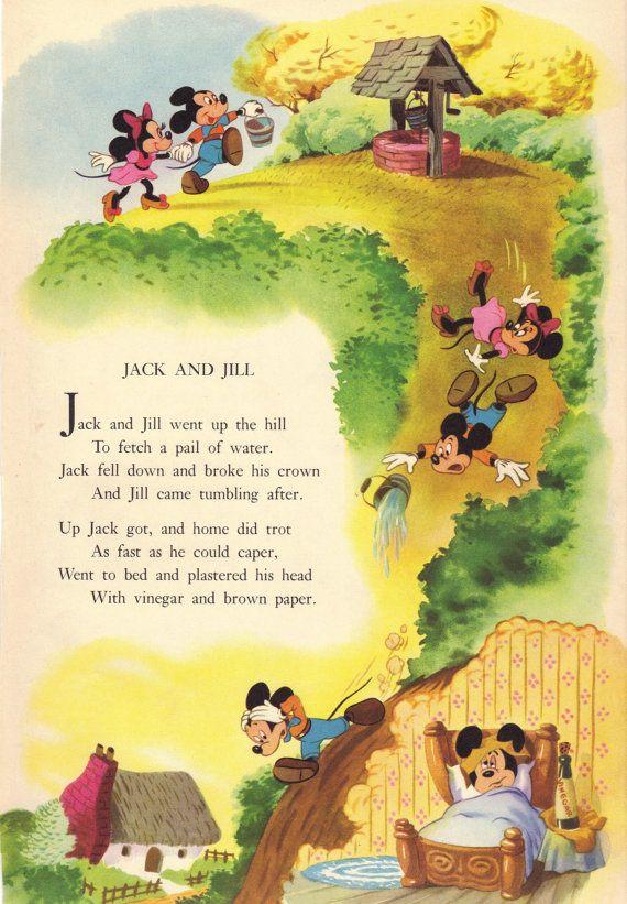 1949 Vintage Disney Nursery Rhyme Print Page By