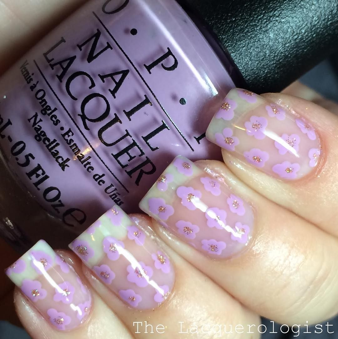 """""""#pcanovember15 manicure 3: Flowers! I did tiny flower """"dots"""" on a bare nail in @opi_products Purple Palazzo Pants #pancreaticcancerawareness…"""""""