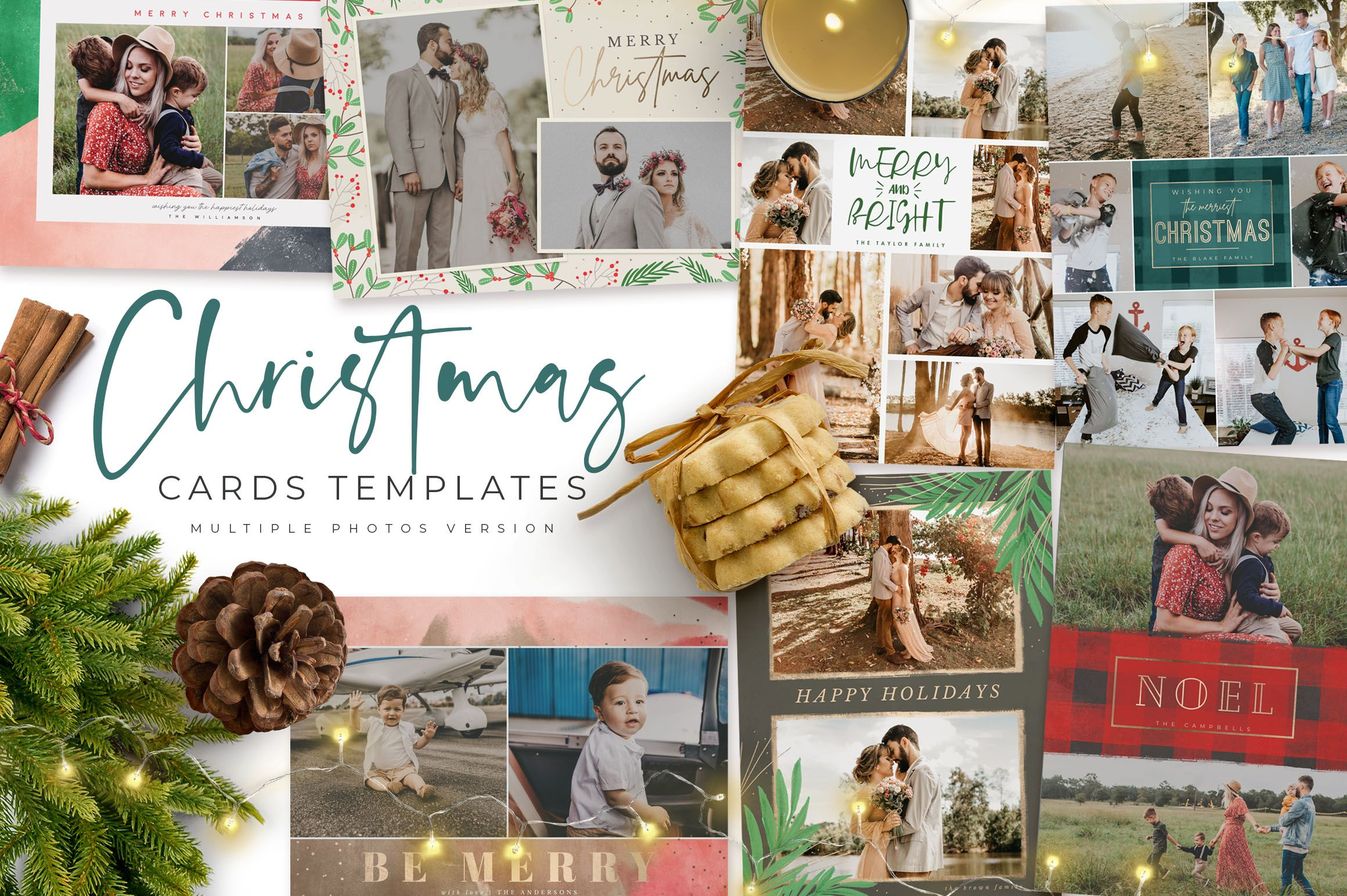 Christmas Card Multiple Photos 351192 Card Making Design Bundles Christmas Card Template Christmas Cards Card Making Designs