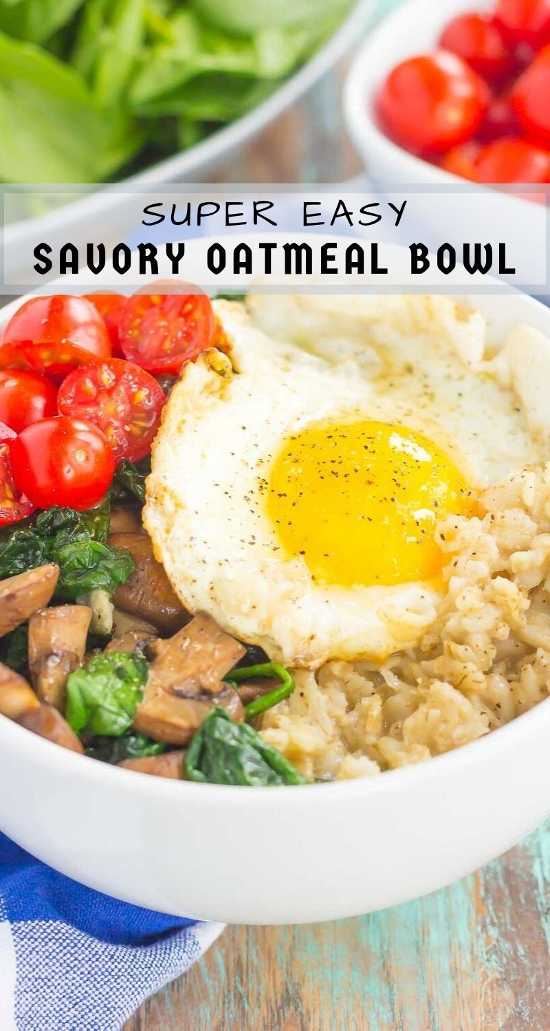 Switch up your breakfast routine with this Savory Oatmeal Breakfast Bowl. Filled with hearty oats, fresh mushrooms, sautéedspinach and an egg, this simple dish is packed with flavor and isthe perfect way to start the day!  #oatmeal #savoryoatmeal #oatmealrecipe #oatmealbowl #breakfastbowl #breakfast