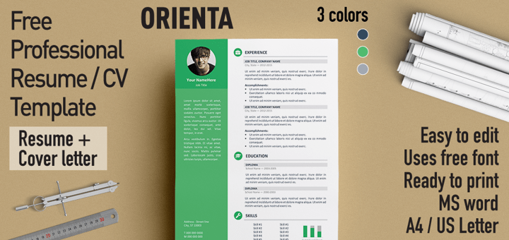 Orienta Is A Free Professional And Elegant Resume Template