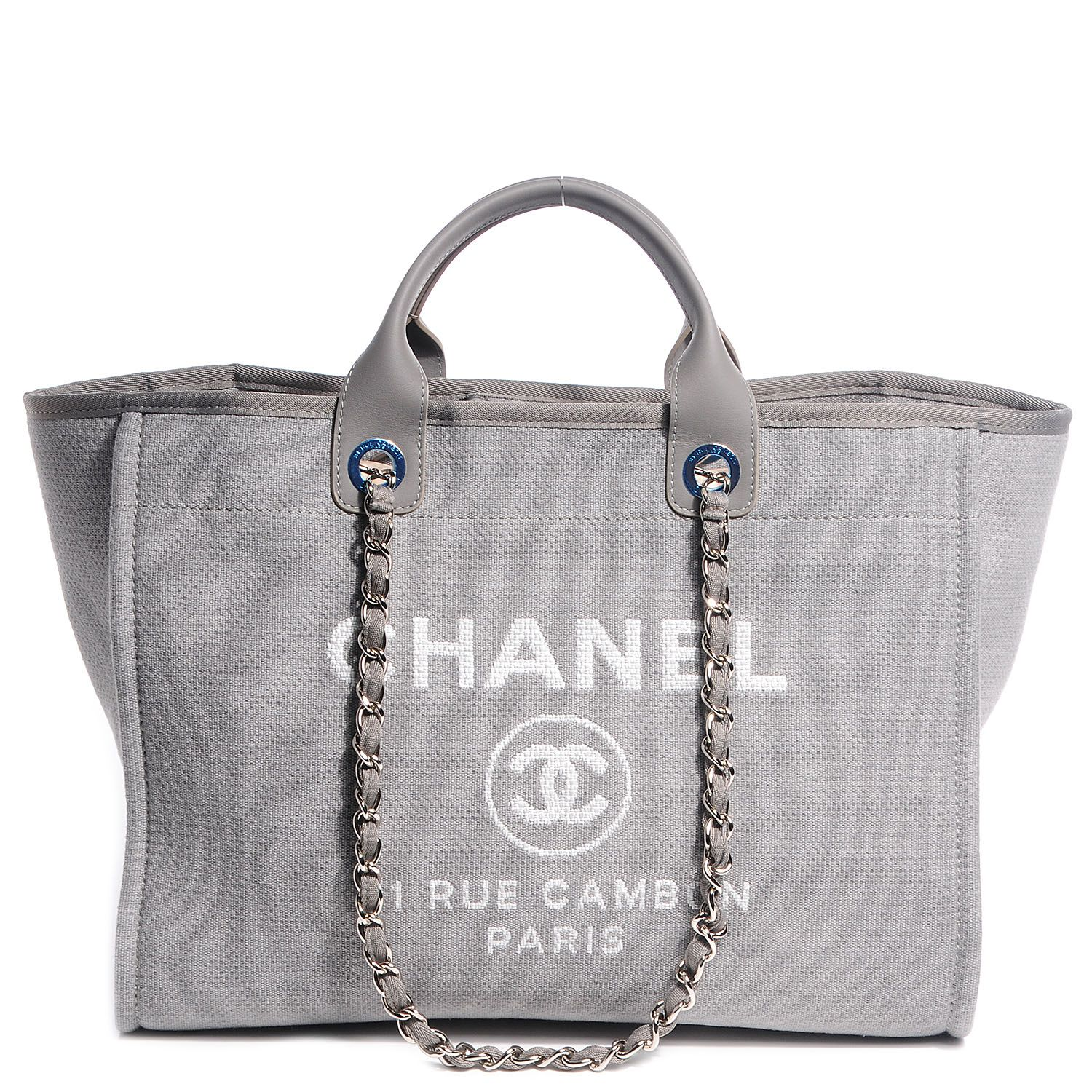 0fe638949da4 CHANEL Canvas Deauville Large Tote Grey - NEW. This lovely bag is crafted  of fine canvas with a white printed advertisement logo.