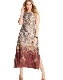 Just My Size Sleeveless Maxi Dress — Animal/Paisley Print