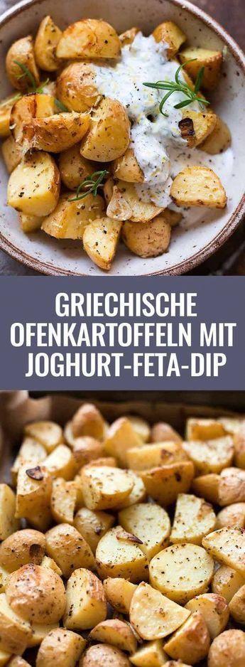 Griechische Ofenkartoffeln mit Joghurt-Feta-Dip  – gesundes Rezept