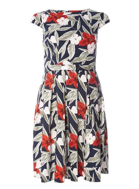 Multi Coloured Floral Cotton Fit and Flare Dress - View All New In ...