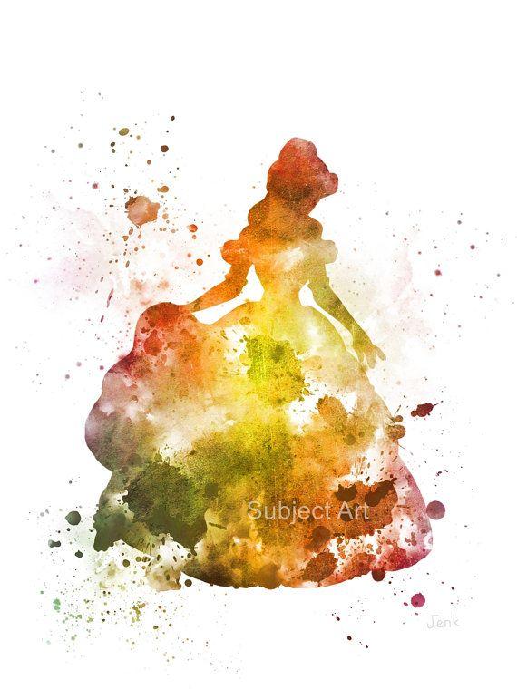 Belle, Beauty and the Beast Inspired ART PRINT illustration, Disney ...