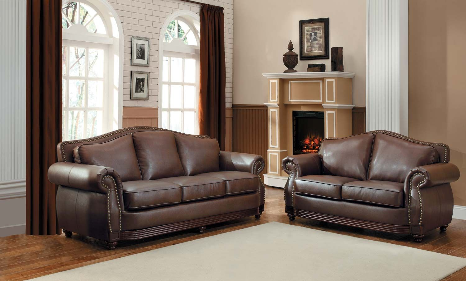 Homelegance Midwood Bonded Leather Sofa Collection Traditional design elements lend and air of refined relaxation to the Midwood Collection. Rolled arms and Camelback design feature nail head accent while the contrasting show wood routed frame accentuates the rich brown Bonded leather match covering in this traditional seating group.