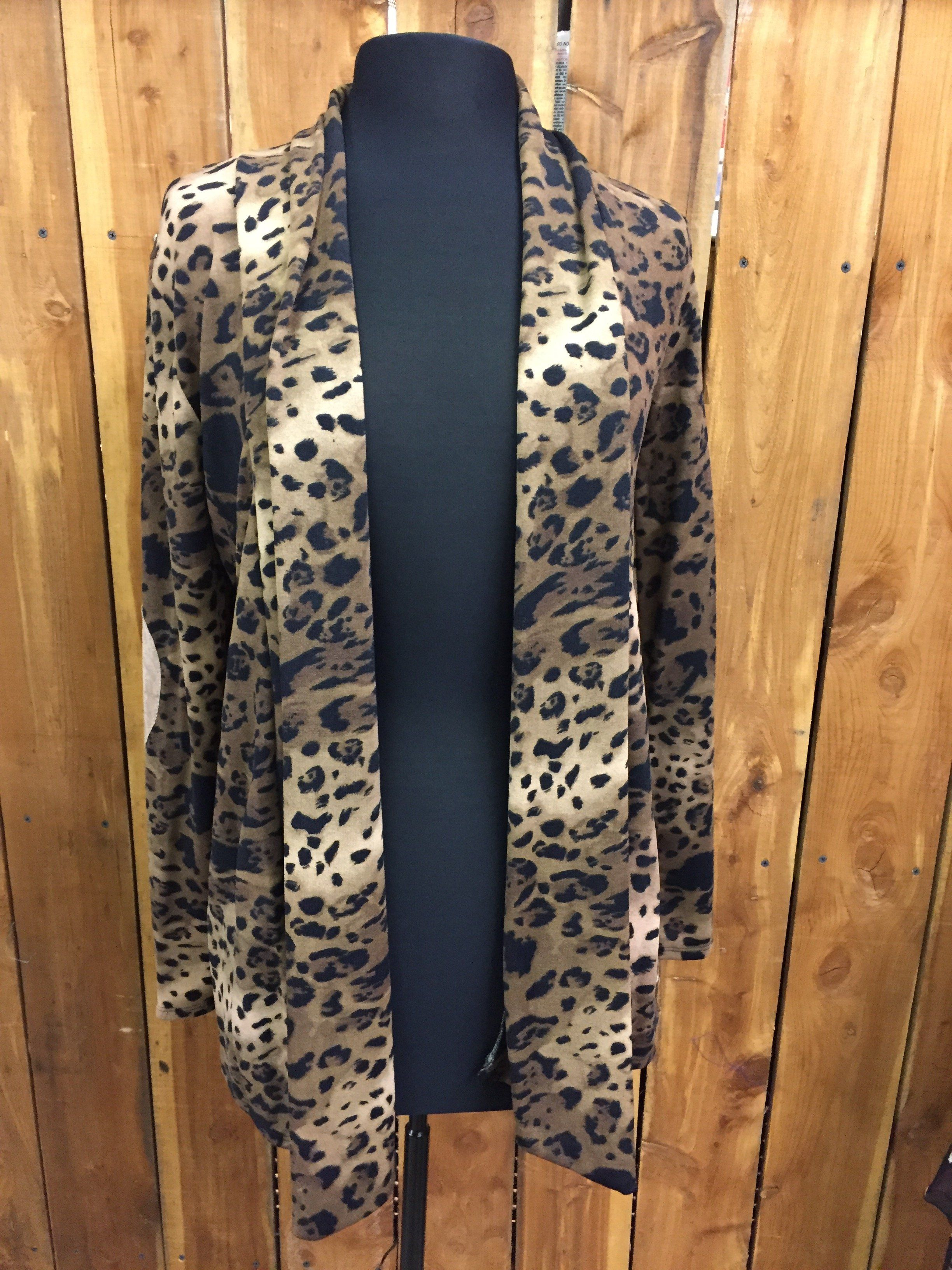 Leopard Cardigan with patch elbow - $38.00 | Products