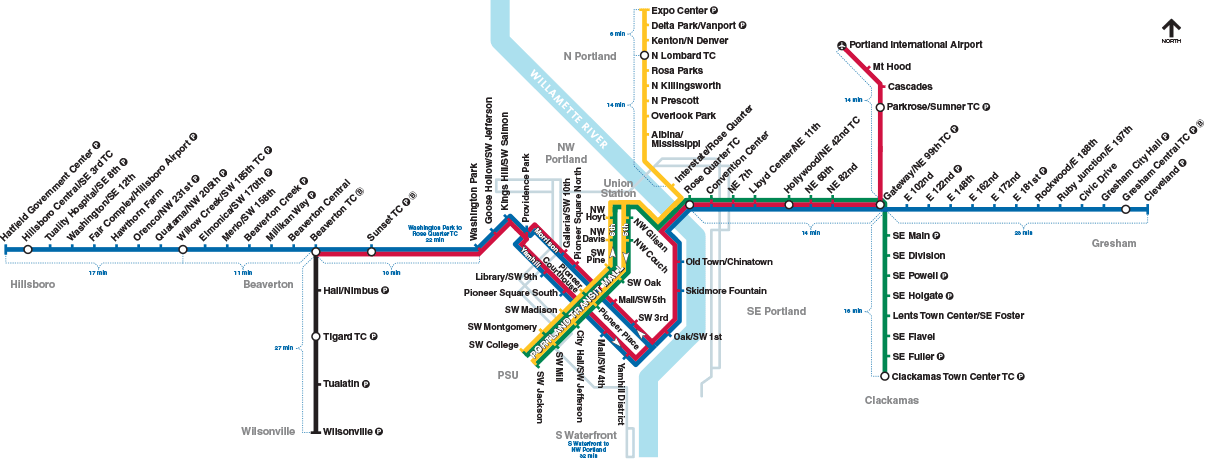 Portland Light Rail Map TriMet: Rail System Map (MAX, WES and Streetcar) | Portland | Map