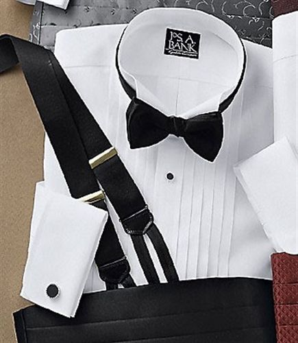 tuxedo shirt with suspenders