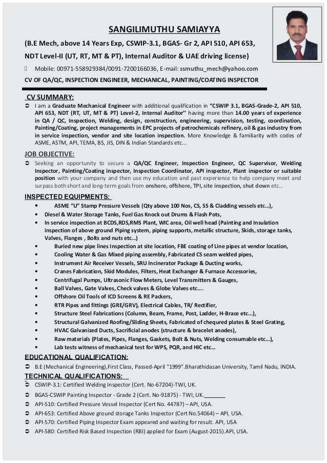 Qa Qc Engineer Resume Sample Perfect Cv Of Qaqc Inspection Engineer Welding Painting Coating Inspecto Engineering Resume Job Resume Samples Resume