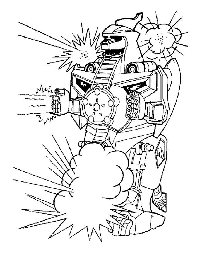 Robot Powers Rangers Issued A Powerful Fire Coloring Page For Kids