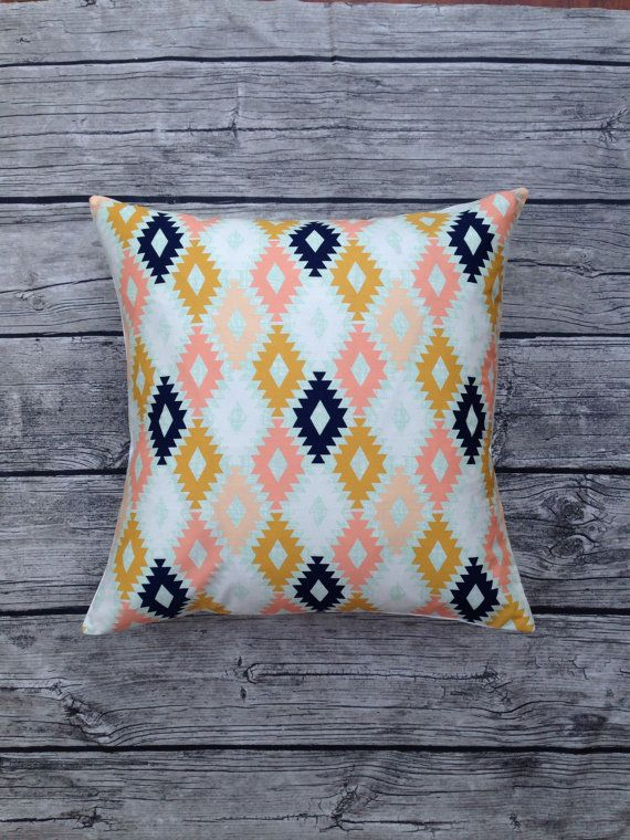 Aztec Cushion Cover In Mint Mustard Pink And Navy Blue