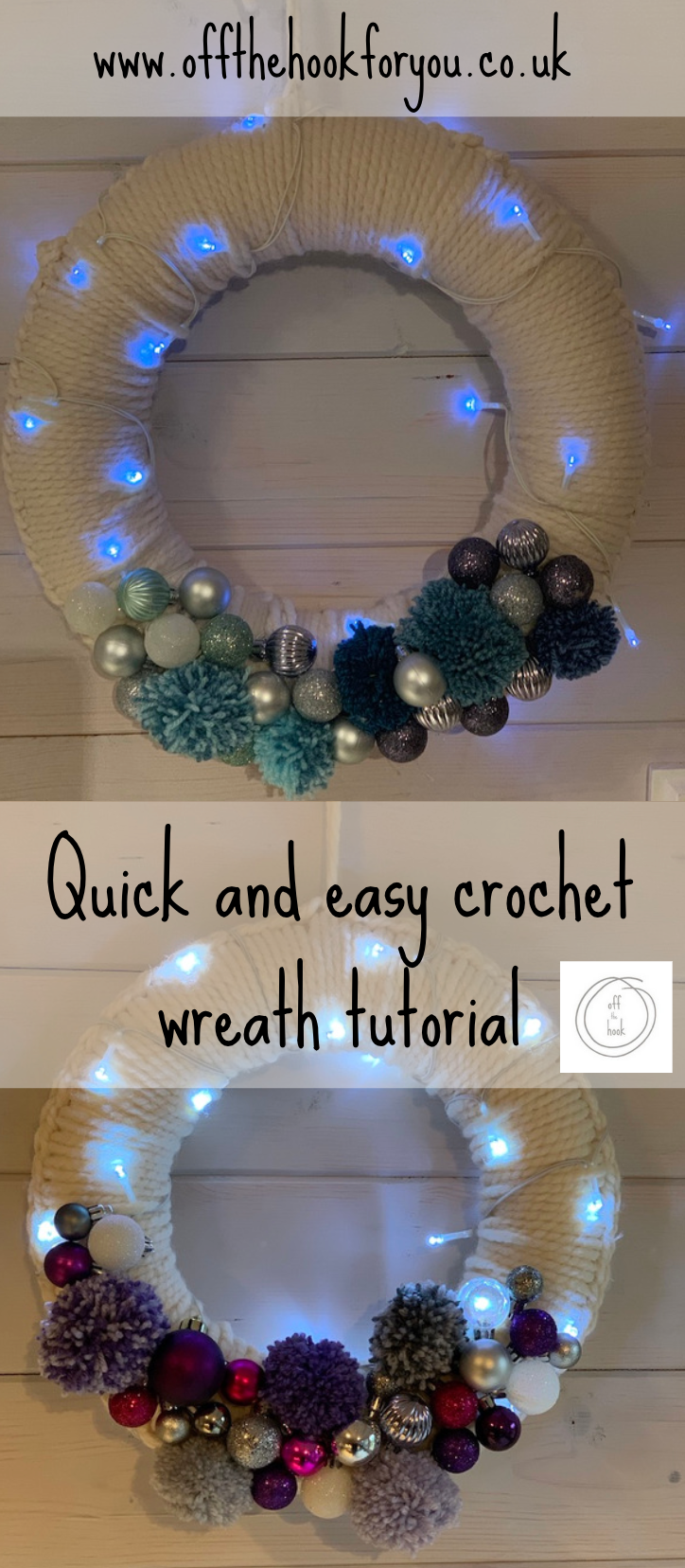 Photo of Super Quick Festive Crochet Wreath with video tutorial on how to crochet the bas…