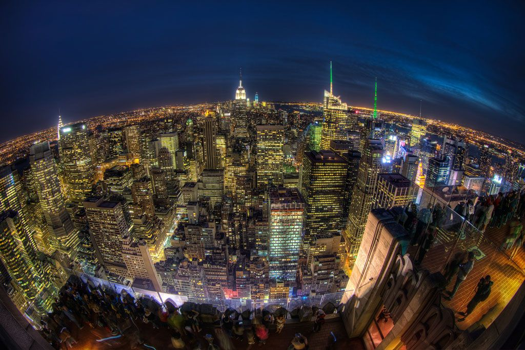 Panoramic View Of New York From The Top Of The Rock At Rockefeller Center City Wallpaper Night City Manhattan New York