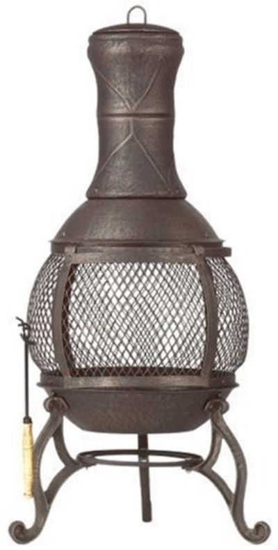 Cast Iron Fire Pit Outdoor Fireplace Bonfire Ring Veranda Patio Chimney  Pool New #Corona