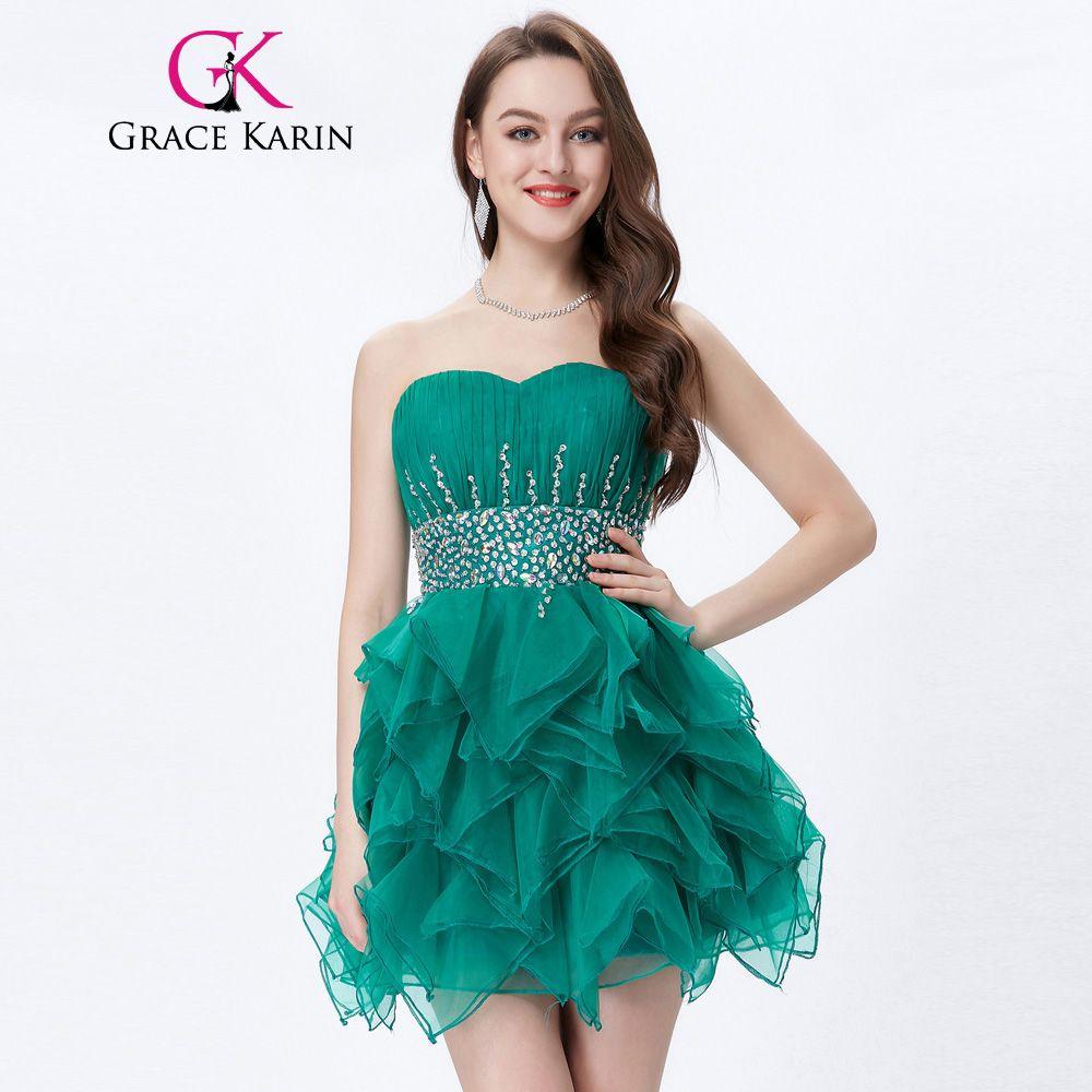 Grace karin turquesa cocktail dress 2017 ruffles de la gasa del ...