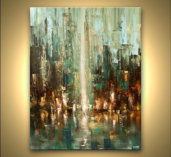ORIGINAL City Painting Modern Acrylic Palette by OsnatFineArt