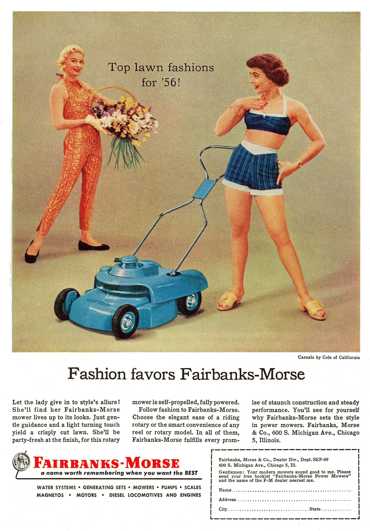 A Fashionable Lawn Mower By Fairbanks Morse 1956 Old