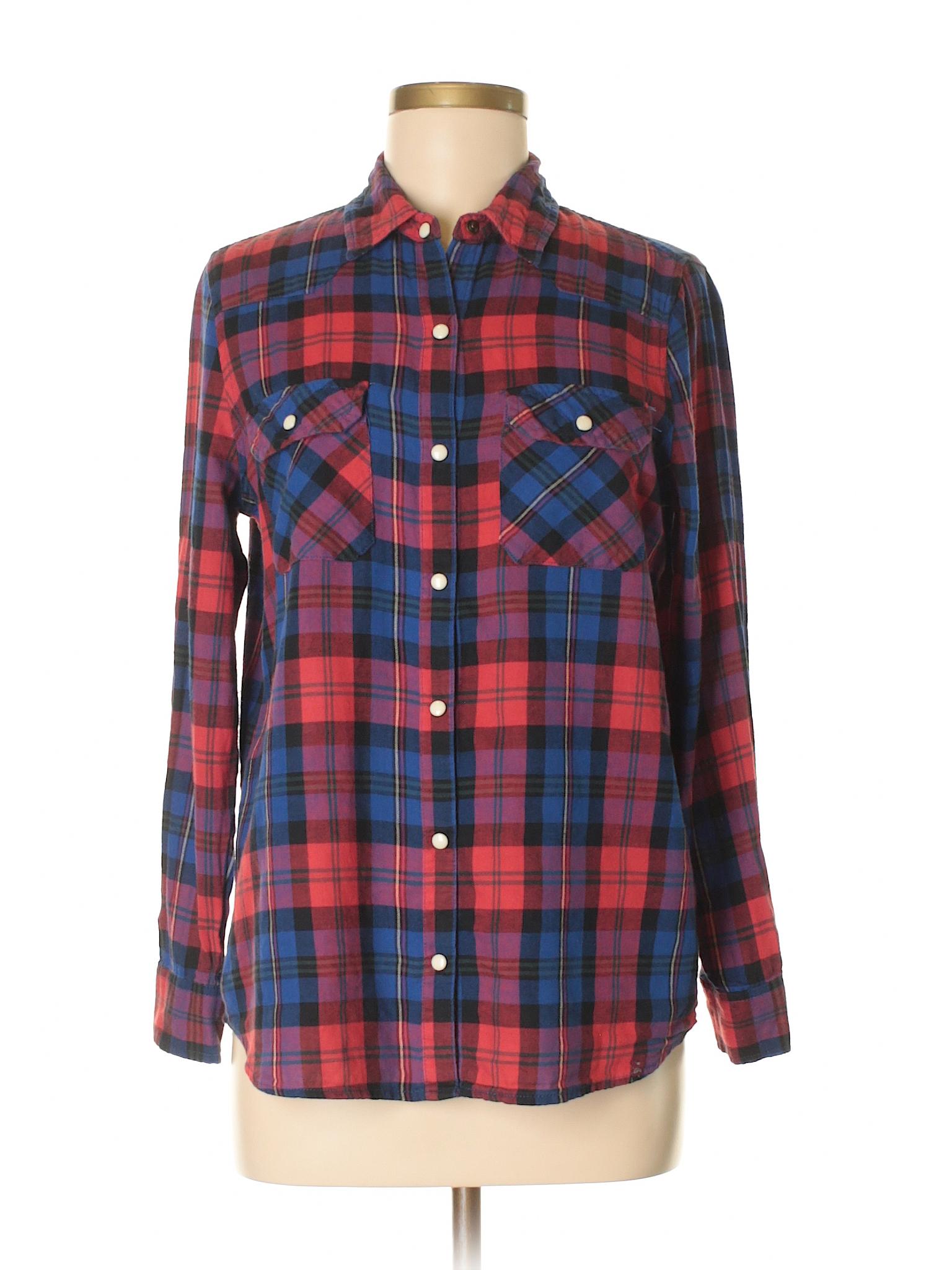 1d6c94c89b2 Forever 21 Long Sleeve Button Down Shirt  Size 4.00 Dark Blue Women s Tops  -  8.99