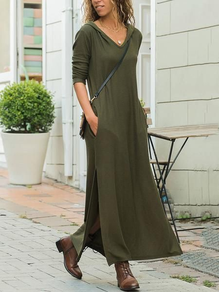 4467b0012408 V-neck Long Sleeves Army Green Split-side Maxi Dress