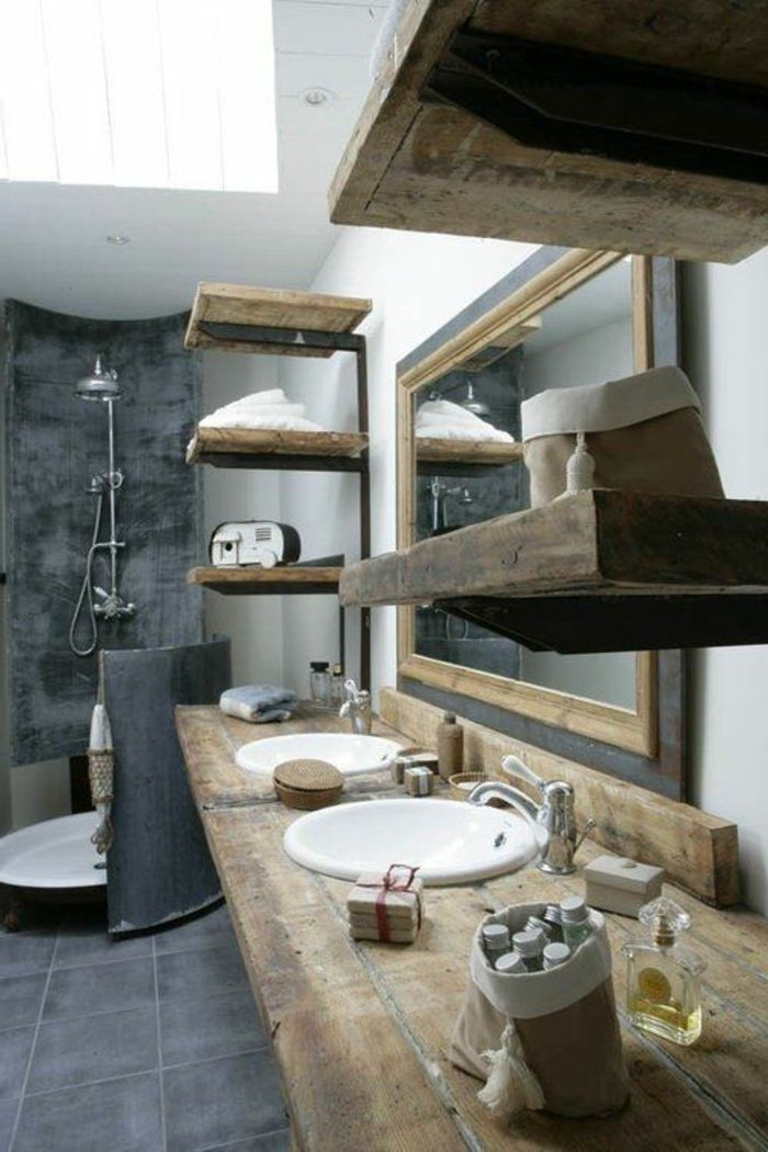 Le thème du jour est la salle de bain rétro! | Salle de bains gris ...