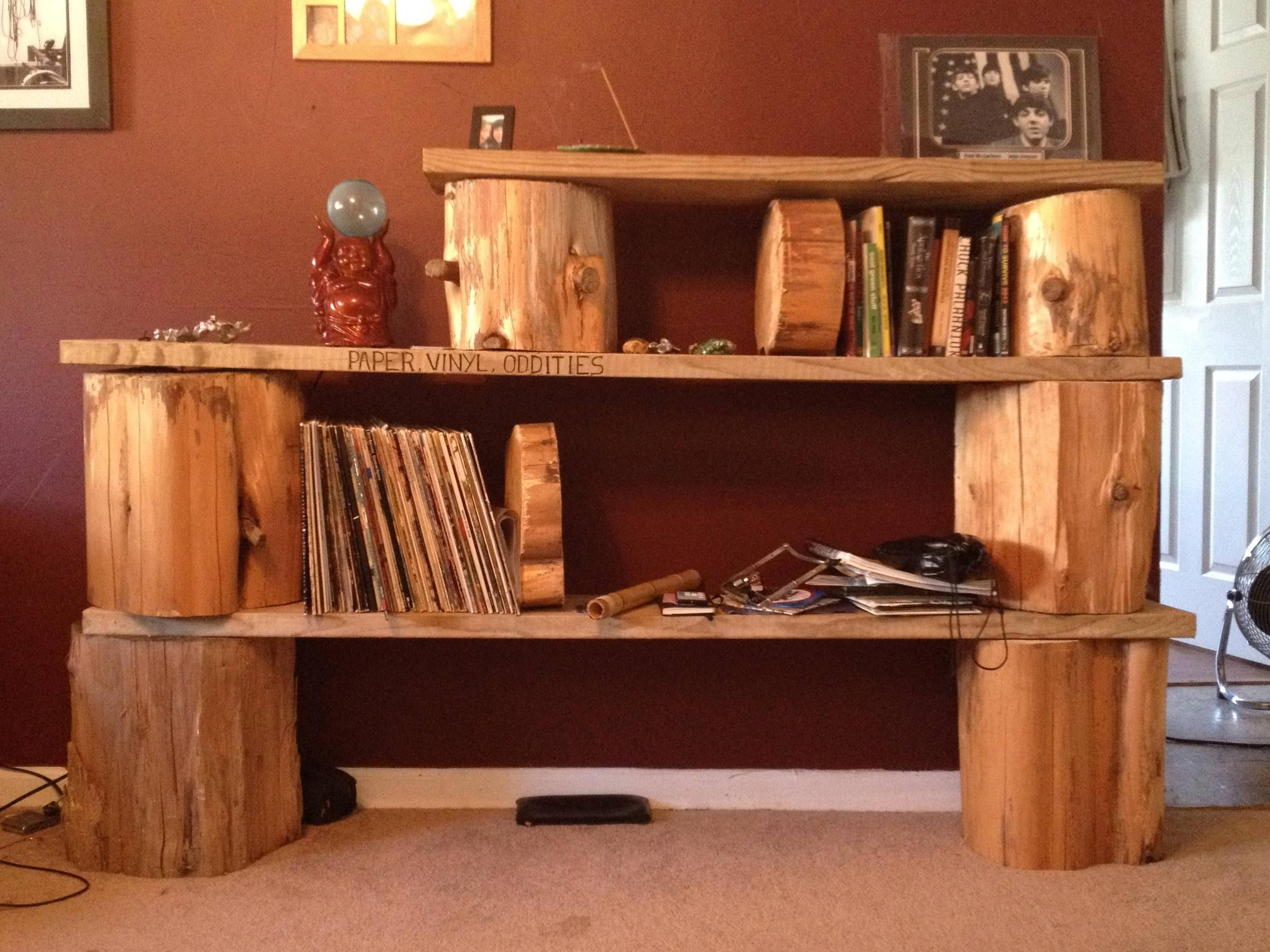 I Need A Book Shelf Its Nothing Fancy But I Like It Tree Stump - Diy bookshelves