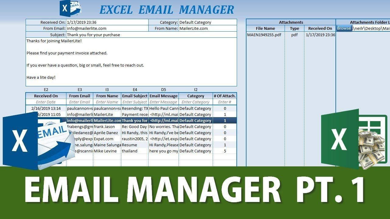 Learn How To Automatically Send Outlook Emails Attachments To Excel P Excel Outlook Email Free Workbook
