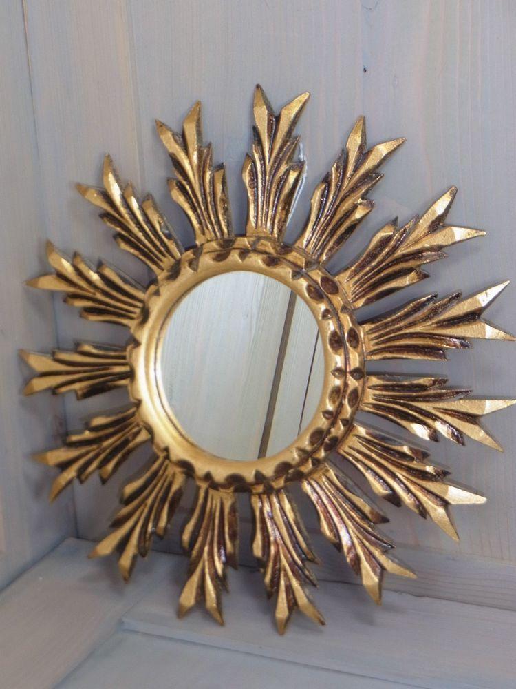 Np11 Gorgeous Wooden Starburst Sunburst Wall Mirror Mid Century German 1960s Mirror Mirror Wall Antique Mirror