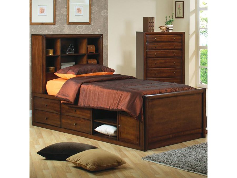 Twin Bed In Deep Walnut Shop For Affordable Home Furniture Decor Outdoors And More Bookcase Bed Under Bed Storage Bed With Underbed