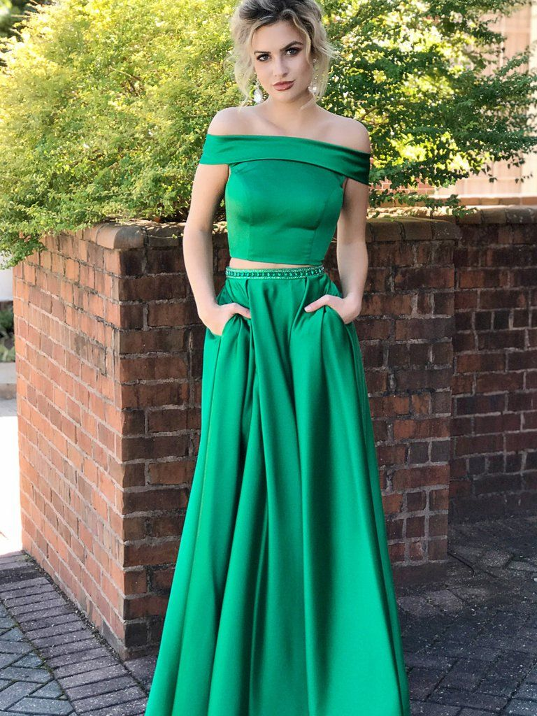 Green 2 piece homecoming dress  Two Piece Prom Dresses Aline Offtheshoulder Sexy Prom Dress Long