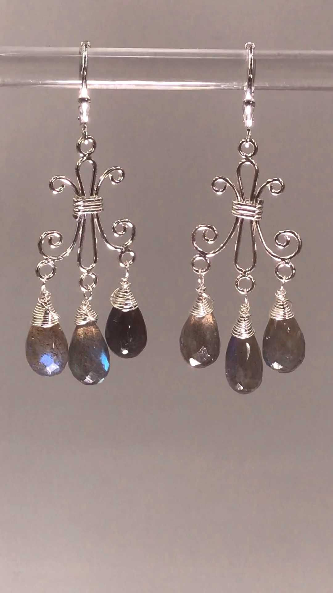 #labradorite #briolettes #chandelier #earrings #sterling #wrapped #silver #dangle #flash #with #lots #blue #wire #of Labr...