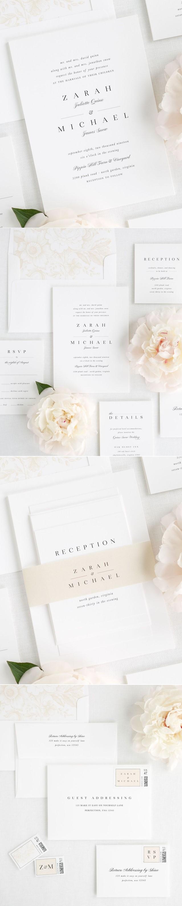 klassiske og stil rene bryllupsinvitasjoner vi designer og produsere