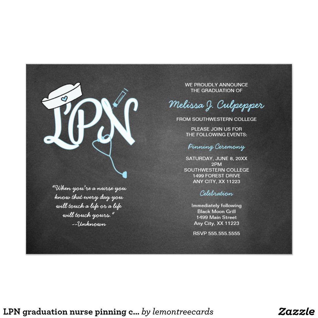 Lpn Graduation Nurse Pinning Ceremony Invites