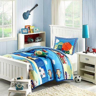 CONSTRUCTION FIRE TRUCK TRAIN POLICE PLANE CAR WHITE BLUE SOFT COMFORTER SET