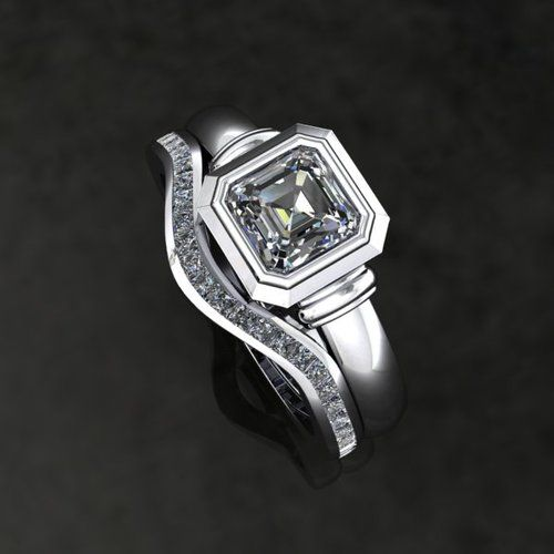 Wedding band with Diamond centre and Diamond sides Style: Simple, Side Detail: Collar, Geometric
