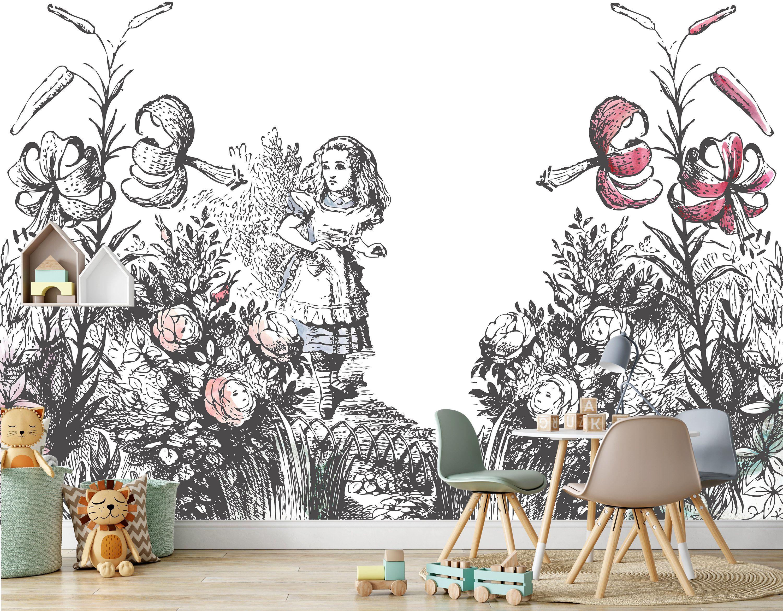 Alice In The Garden Of Live Flowers Wall Mural Alice In