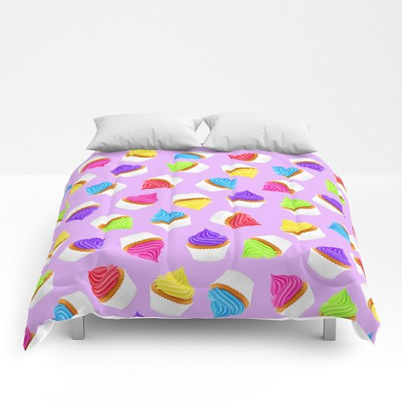 Items Similar To Purple Duvet Cover Cupcake Comforter Dessert Decor Cake Lover Sweets Bed Cute Bedding Frosted Cupcakes Rainbow Iced