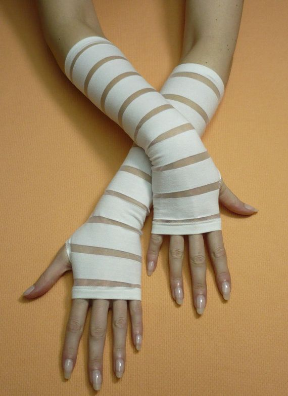 Ivory Bridal Gloves, Fingerless, Romantic Wedding Armwarmers, Shiro - romantic halloween ideas