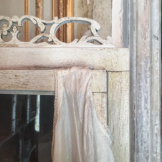 Old White Painted Corner Cupboard With Annie Sloan Crackle Varnish With A  Little Vintage Petticoat Hanging