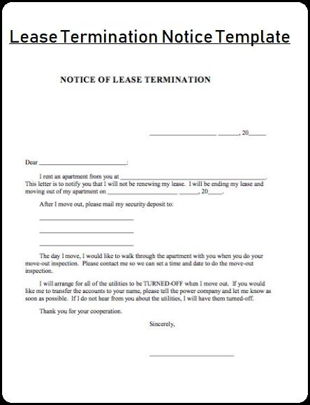 Lease Termination Notice Template sampleformatsorg Pinterest - termination notice template