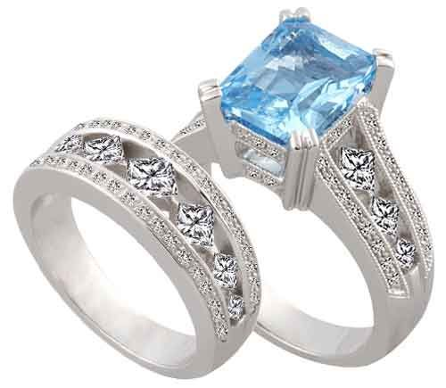 Blue Diamond Wedding Rings BLUE TOPAZ DIAMOND ENGAGEMENT RING