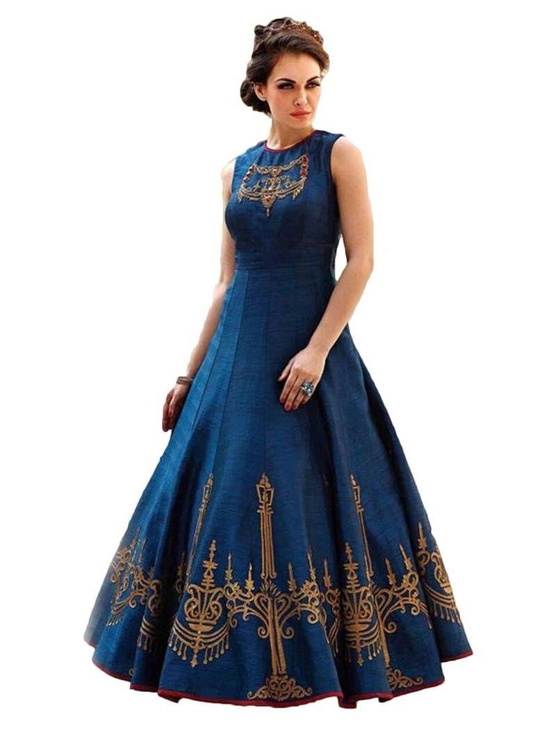 b9bf6189206a Blue printed satin semi stitched long-kurtis | Long Kurtis | Dresses ...